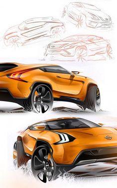 Nissan Vulkano Concept Design Sketches by Adonis Alcici Car Design Sketch, Car Sketch, Automobile, Futuristic Cars, Futuristic Design, Industrial Design Sketch, Future Car, Future Tech, Car Drawings