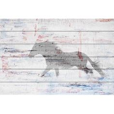 Grey Horse Trot Painting Print on White Wood, Multicolor