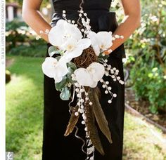 Phalaenopsis bouquet with quail feathers