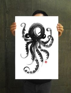 Octopus watercolor art, Large poster, Octopus ink painting, Nautical artwork, Sea life art, Black & white art, 11x14, 13x19 Buy 2 Get 1 Free...