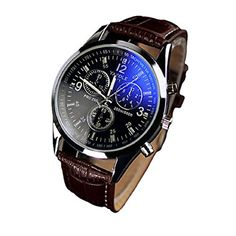 Bestpriceam® Luxury Fashion Faux Leather Mens Blue Ray Glass Quartz Analog Watches