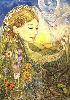 Brigantia - Celtic Goddess of Summer. Often confused with Brigid (or considered to be an aspect of), Brigantia is a solar Goddess, ruling light and fire. Celtic Goddess, Celtic Mythology, Goddess Art, Goddess Names, Earth Goddess, Fantasy Kunst, Fantasy Art, Summer Goddess, Gothic Culture