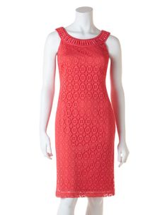Sleeveless grecian neckline sheath dress with front coral jewel detail neckline and lace overlay body Stretch for comfort Fully lined polyester spandex ( Stylish Dresses, Fashion Dresses, Dresses For Work, Coral Lace, Lace Sheath Dress, Petite Dresses, Lace Overlay, Occasion Dresses, High Neck Dress
