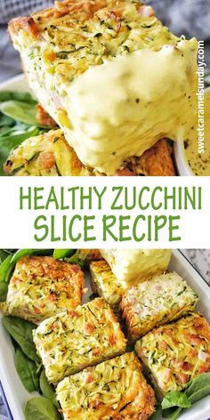 Healthy Zucchini Slice recipe is quick, easy and delicious! The slice works for any meal and can be served cold or hot. Oven baked, freezer friendly and a healthy option you can't beat this recipe! #easyrecipe #lunchrecipes @sweetcaramelsunday Healthy Zucchini Slice, Gluten Free Zucchini Slice, Side Dish Recipes, Vegetable Recipes, Vegetarian Recipes, Healthy Recipes, Drink Recipes, Easy Delicious Recipes, Easy Dinner Recipes