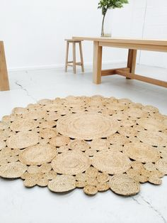 Round Flower Jute Rug 3 sizes - 90cm/120cm/180cm by The Wood Room Furniture/Homewares