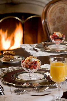 Our deluxe three-course breakfast includes home made scones served with clotted cream, preserves and butter, fresh fruit or fruit parfait, and Your entrée of the day Fruit Parfait, Fruit Cups, Elegant Dinner Party, Clotted Cream, Autumn Home, High Tea, Bed And Breakfast, Morning Breakfast, Afternoon Tea