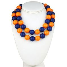 The Two Tone Candy Necklace in Navy and Orange #gameday