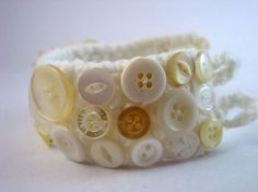 White and Cream Upcycled Button and Crochet Bracelet by Pookledo, £8.00