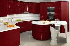Red Kitchen Cabinets, Kitchen Cupboard Designs, Kitchen Cabinet Colors, Painting Kitchen Cabinets, Kitchen Layout, Purple Kitchen Designs, Beautiful Kitchen Designs, Best Kitchen Designs, Beautiful Kitchens