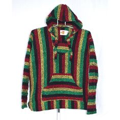 90s Baja Surfer Hooded Shirt Mens Medium Unisex Womens Rasta Red Green... ($25) ❤ liked on Polyvore featuring men's fashion, men's clothing, men's hoodies, mens hooded sweatshirts, mens green hoodie, mens hoodies, mens red hoodie and mens poncho hoodie