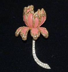 Vintage Jomaz Pink Gold Tone Rhinestone Flower Pin