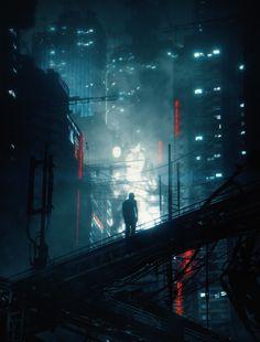 Concept of sci fi city. Cyberpunk Anime, Arte Cyberpunk, Cyberpunk Aesthetic, Cyberpunk City, City Aesthetic, Bioshock, Sci Fi City, Fantasy City, Futuristic Art