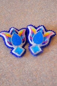 Crow Nation Beadwork | - CROW Native American Beaded Floral Tulip Earrings - Crow BEADED ...