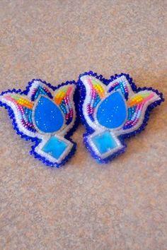 Crow Nation Beadwork   - CROW Native American Beaded Floral Tulip Earrings - Crow BEADED ...