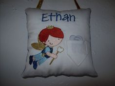 Tooth Fairy Pillow  custom personalized embroidery  by bitsydogood, $24.00