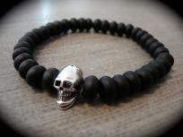 Yogi Bead Black Matte Onyx Rondelle & Sterling Silver Skull Stretchy Bracelet