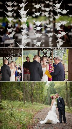 Cool origami cranes used as the backdrop!