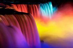 light show during the Niagara Falls Winter Festival of Lights Niagara Falls Lights, Niagara Falls Winter, Niagara Falls At Night, Winter Light Festival, Festival Lights, Photo Cascade, Beautiful World, Beautiful Places, Beautiful Gif