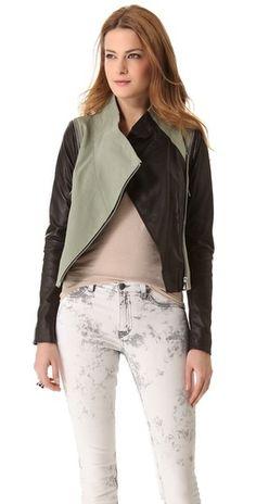 leather combo jacket