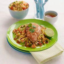 Sesamfrøstekte skinkebiffer med couscous
