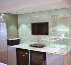 """Kitchen Style – Bespoke Metallic Vetra tempered glass units in Champagne, with Champagne glass splash backs and Caesarstone work surface """"Dreamy Marfil"""" Tv Display, Glass Front Cabinets, Work Surface, Champagne, Mirror, Furniture, Design, Home Decor, Interior Design"""