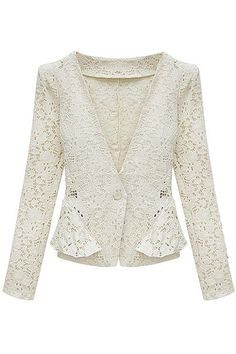 ROMWE | Hollowed Flower Slimming Beige Lace Coat, The Latest Street Fashion