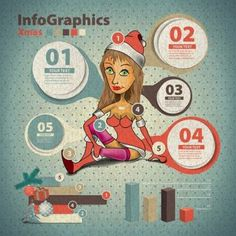 Free vector illustration of 5 steps call out and chart Xmas Girl Infograhpics…