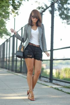 Thighs <3 Shorts, blazer, tees - check! Need: sandals with small heel for summer.. (Delmy Rivera - Fashion Bananas)