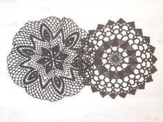 2 grey Crochet Doilies Vintage hand dyed Doilies