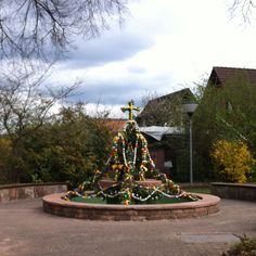 Town's fountain decorated for Easter