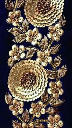 blue embroidery close up - Zardosi embroidery - Zardozi Embroidery, Tambour Embroidery, Hand Work Embroidery, Couture Embroidery, Gold Embroidery, Embroidery Fashion, Hand Embroidery Designs, Embroidery Stitches, Embroidery Patterns