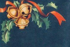 #retrochristmas, #christmasholly, #christmasribbon, Vintage Christmas Card, Retro Christmas Card, #christmasbells