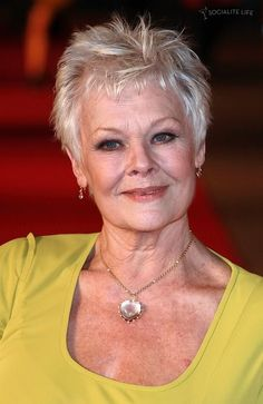 Judi Dench - Dame Judi Dench Thursday December 2009 at Odeon Leicester Square London, England Older Women Hairstyles, Pixie Hairstyles, Easy Hairstyles, Prom Hairstyles, Hairstyles Videos, Natural Hairstyles, Straight Hairstyles, Judy Dench Hair, Judi Dench