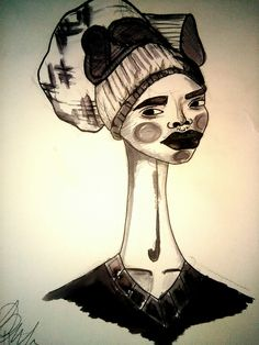 Afro art/black style/ilustration/draw/black and white/by Sandra Pereira