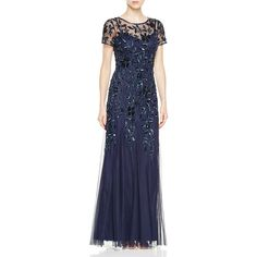 Adrianna Papell Short Sleeve Floral Beaded Gown ($300) ❤ liked on Polyvore featuring dresses, gowns, twilight, beaded dress, blue evening gown, floral print evening gown, blue ball gown and floral ball gown