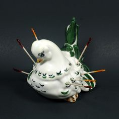 $16.95 Awesome 1954 ceramic partridge toothpick holder. Great for holidays or everyday usage. Great vintage condition.