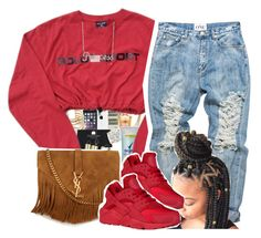 """Red❤️ .q"" by clinne345 ❤ liked on Polyvore featuring NIKE, Yves Saint Laurent and Belk & Co."