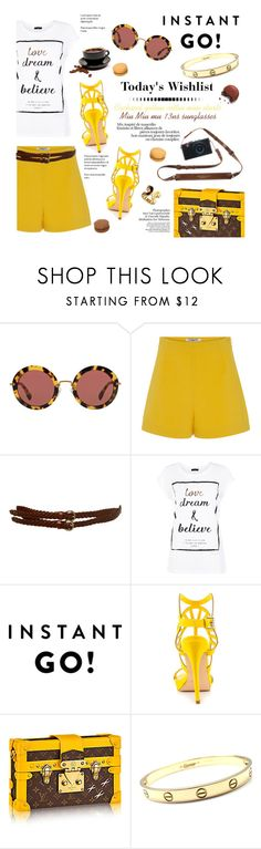 """""""Untitled #176"""" by smaeri ❤ liked on Polyvore featuring Miu Miu, Cacharel, Miss Selfridge, Penny Loves Kenny, Cartier, Forum, Michael Kors, shorts, sunglasses and threecolors"""
