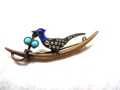 Victorian Ca 1880 Brooch Bird Motif Turquoise Enamel Pearls Gold Filled Sterling #Unbranded