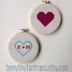 Heart Cross Stitch Hoop Art Embroidery by teenytinytantrums