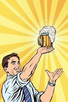 Retro man and mug of beer pop art vector. Oktoberfest and St. Patrick day. Beer festival #beerfestival #beerart