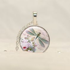 Dragonfly Pendant Necklace in Silver with free chain CS48 by prideandpendants on Etsy