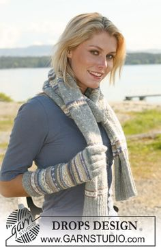 """Set comprising: DROPS scarf worked in the round and gloves in multi colored pattern in """"Alpaca"""". ~ DROPS Design"""