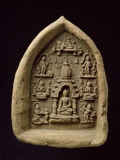Votive tablet, Pagan, the Buddha under the Mahabodhi temple, terracotta.