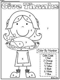 Kindergarten Thanksgiving Color By Number Code Pilgrim / M