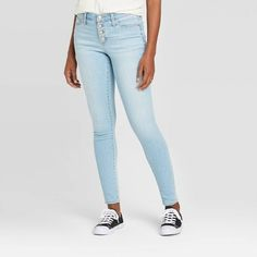 Women's High-Rise Button-Fly Skinny Ankle Jeans - Universal Thread™ Light Wash : Target