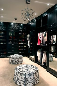 walk-in closet I want a black walk- in instead of white now...love it! ... Yes, please!