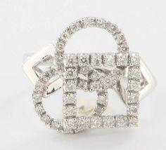 Estate Designer 14 Karat White Gold Diamond Square Circle Cocktail Ring Used  $895