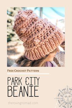 Park City Beanie - Crochet Pattern - The Roving Nomad Crochet Beanie, Knitted Hats, Crochet Hooks, Free Crochet, Crochet Designs, Crochet Patterns, Ski Slopes, Yarn Inspiration, Last Minute Gifts