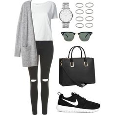 Untitled #1211 by susannem on Polyvore featuring Alexander Wang, Topshop, NIKE, H&M, MARC BY MARC JACOBS, Forever 21 and Ray-Ban